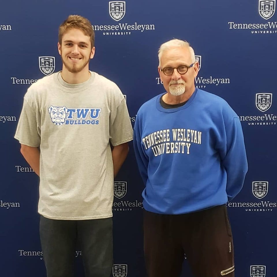 Shelton Milne and Track and Field Coach Sam Roberts