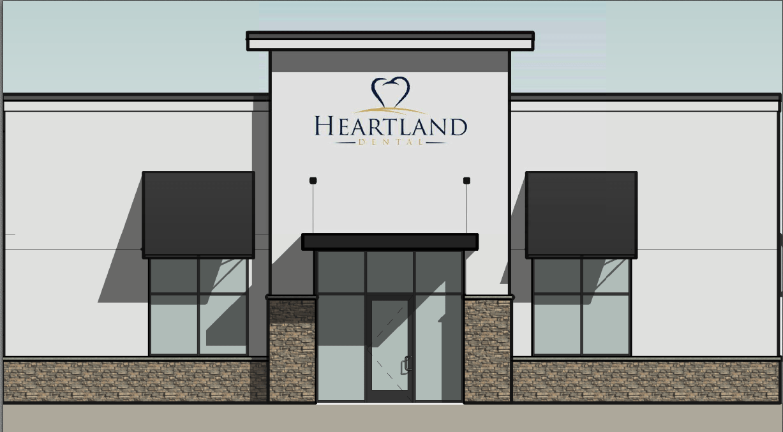 Virtual Rendering of Heartland Dental construction with the Heartland Dental logo