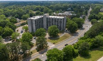 aerial view of JJ Henderson Senior Residential Building